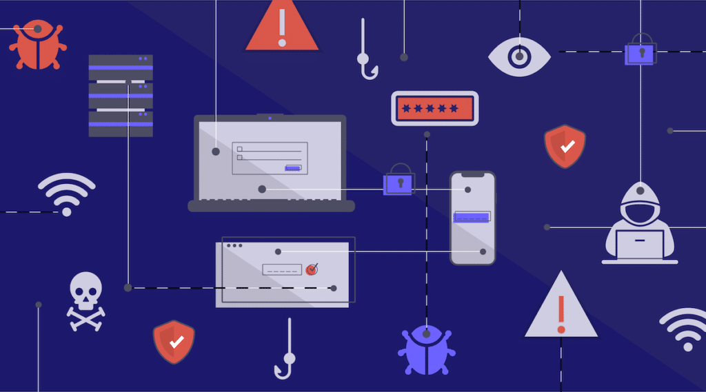 A graphic visualizing some common methods of Internet and computer hacking.