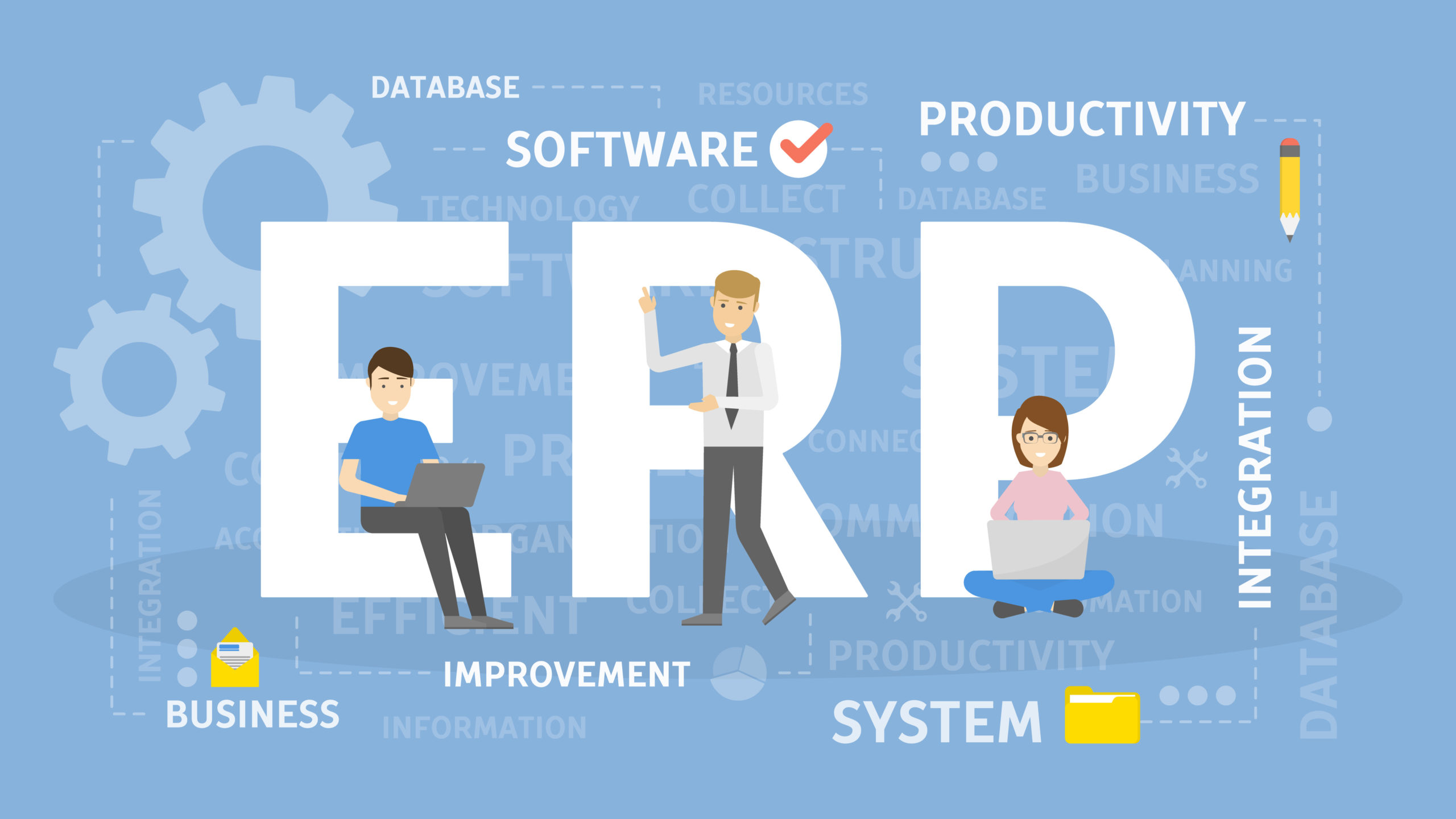 ERP concept illustration. Idea of productivity and improvement.
