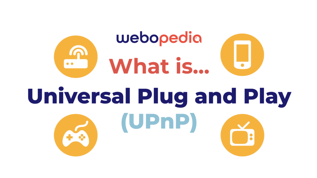 """A graphic image introducing the article topic """"What is Universal Plug and Play (UPnP)"""" with four icons, a router, a phone, a video game controller, and a TV."""