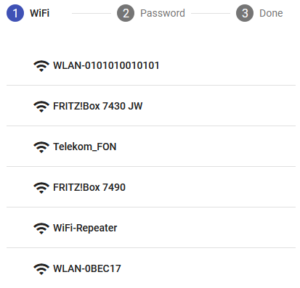 A mobile device's screen shows a series of SSIDs as network names.