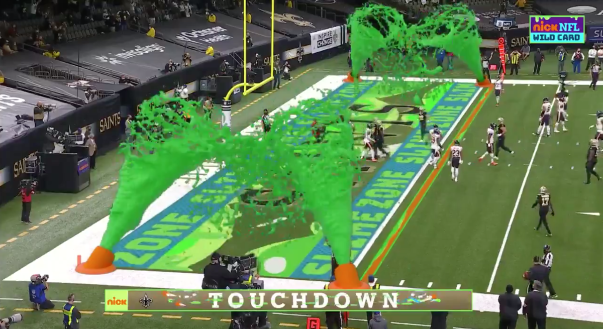 A picture of the 2020 NFL football game where Nickelodeon used augmented reality to insert Spongebob themed elements into the live game.