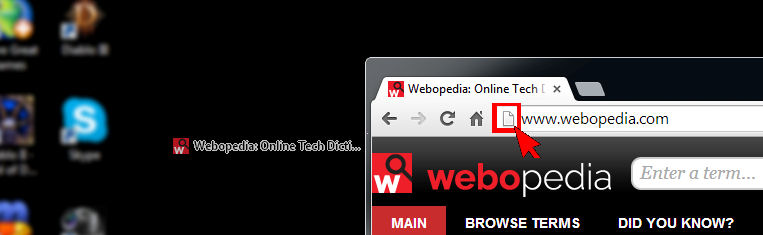 Image shows the creation of a website short cut on your desktop.