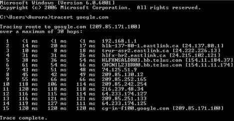 Output of the terminal command 'ping google.com'.