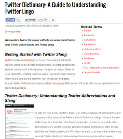 Twitter Lingo - Dictionary