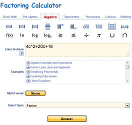 Factoring Calculator