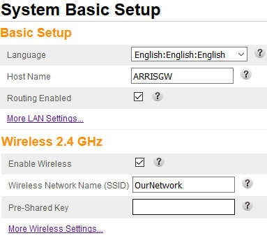 Modem or wireless access point settings showing the SSID.