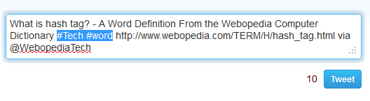 Webopedia tweets using #tech hashtag