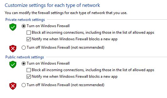 Windows Firewall Off