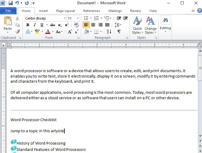 First version of Microsoft Word.