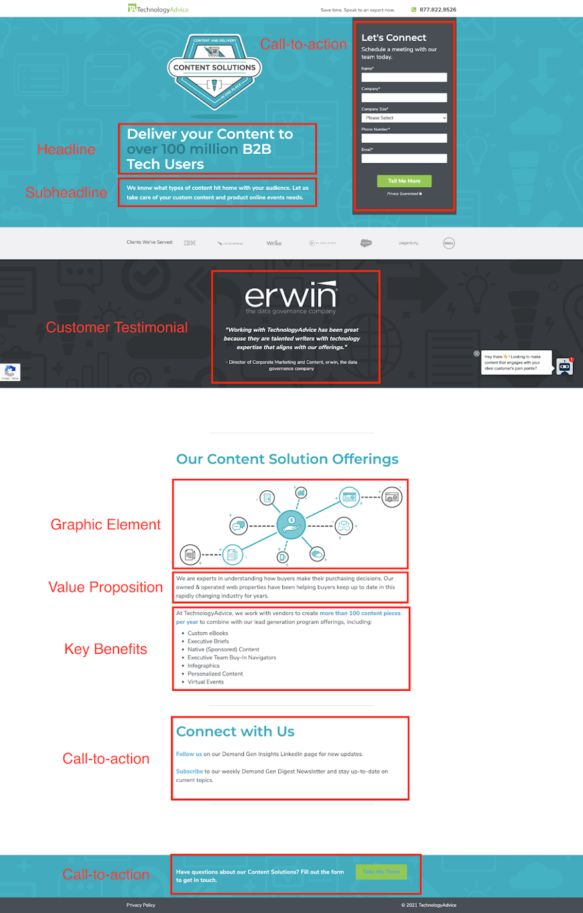 example of TechnologyAdvice landing page.