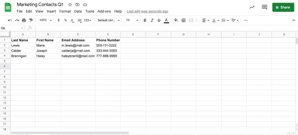 a spreadsheet to be converted to a CSV file.
