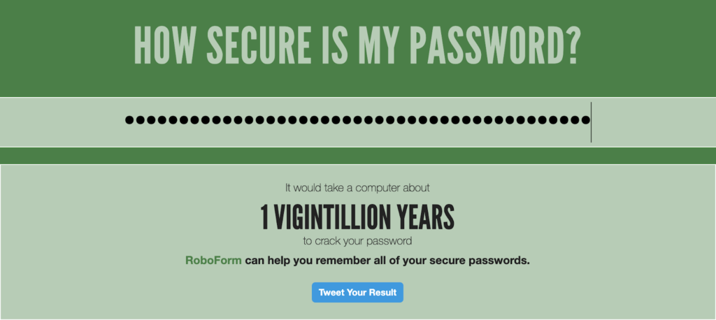 Image showing how long it would take to crack a password.