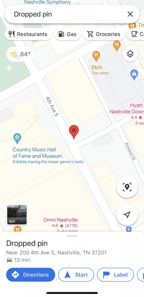 Screenshot of Google Maps for iOS.