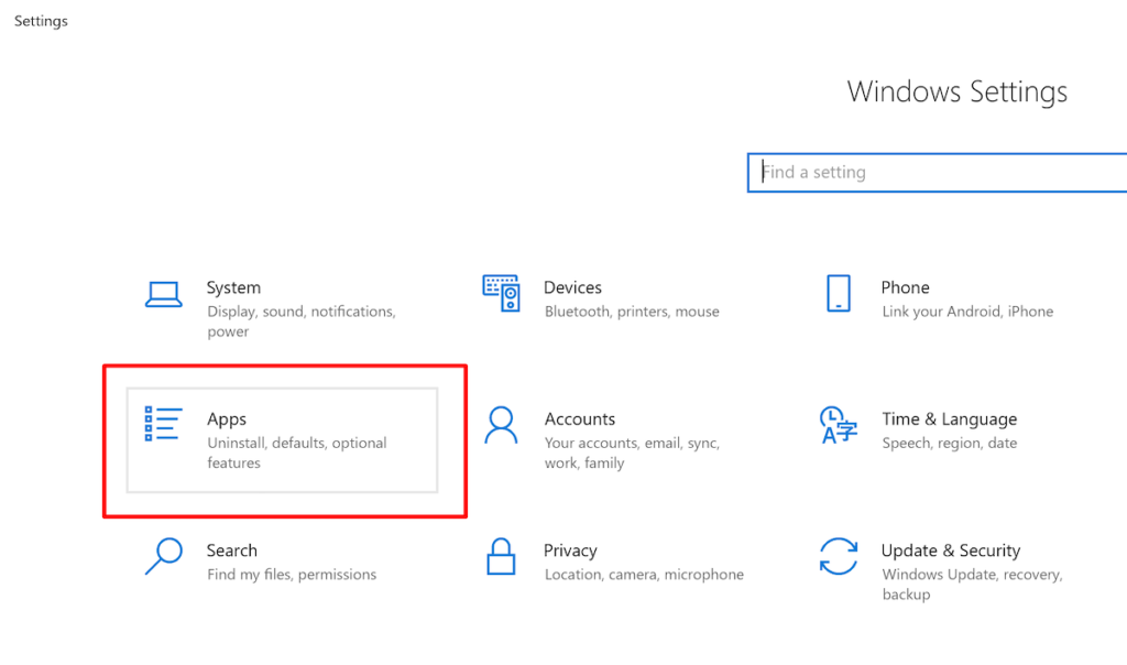 Apps Option in Settings Menu Windows—how to clean hard drive.