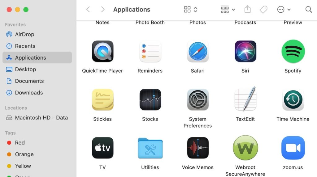 Applications on Mac and the Utilities folder.