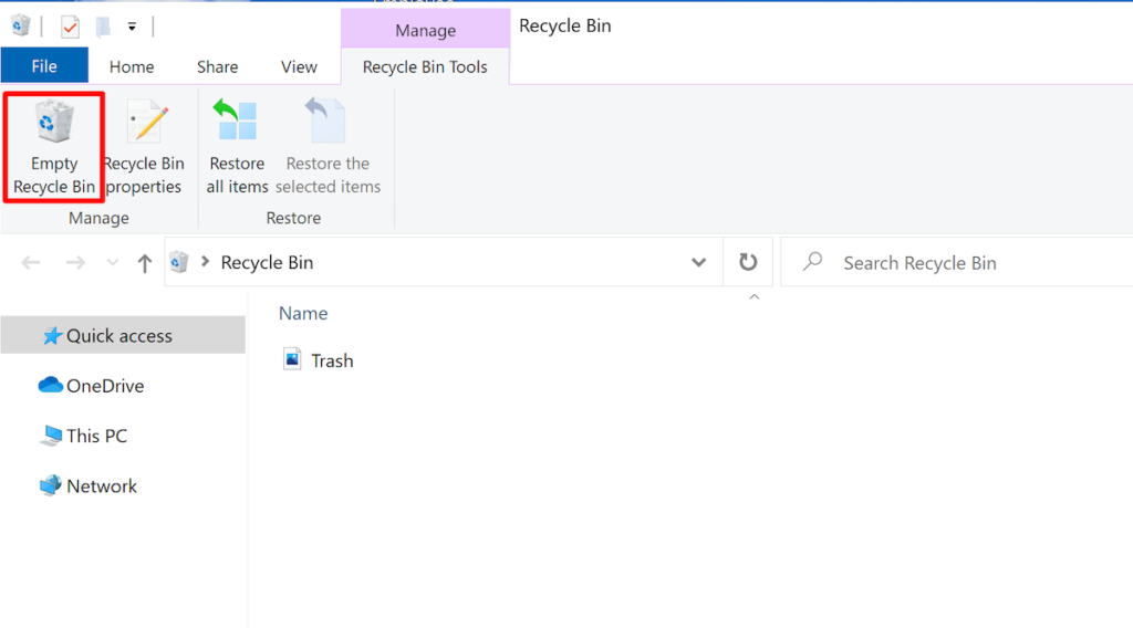 how to empty the recycle bin on a Windows computer.