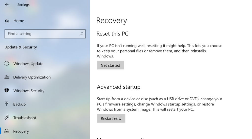 Recovery options in Windows.