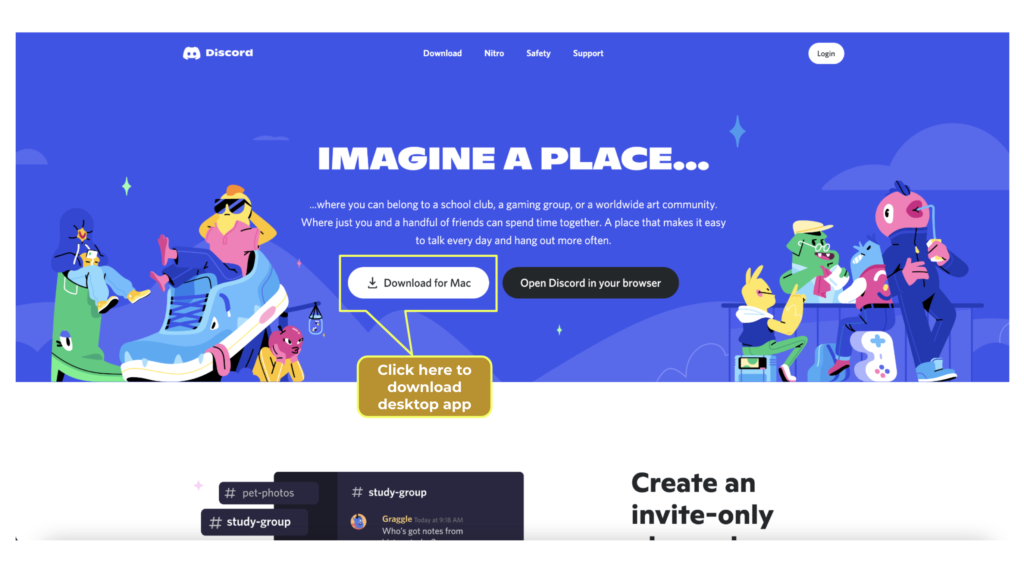 A graphic image of the Discord homepage showing where users can download the desktop app.