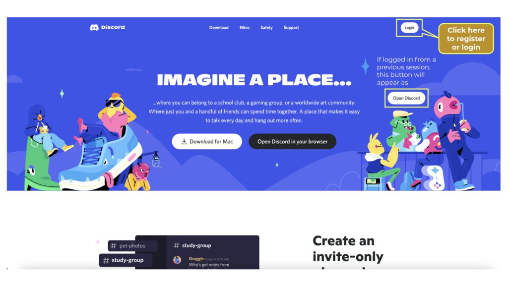 A graphic image showing the homepage of Discord and where you can login to the web browser application.