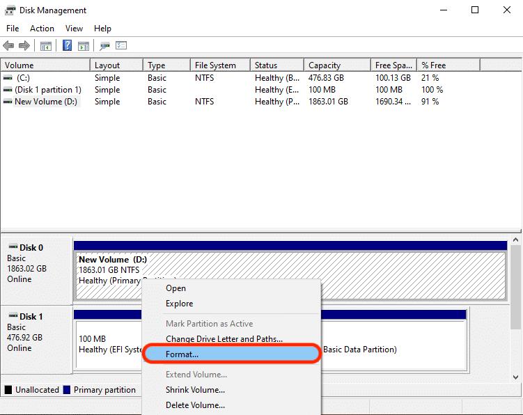 Screenshot of Disk Management menu in Windows.