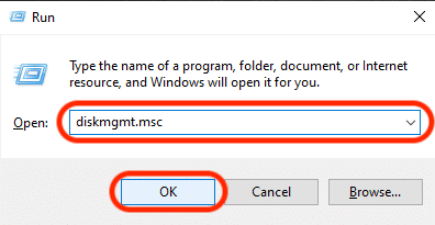 Screenshot of Run app window with disk management command typed in dialogue box.