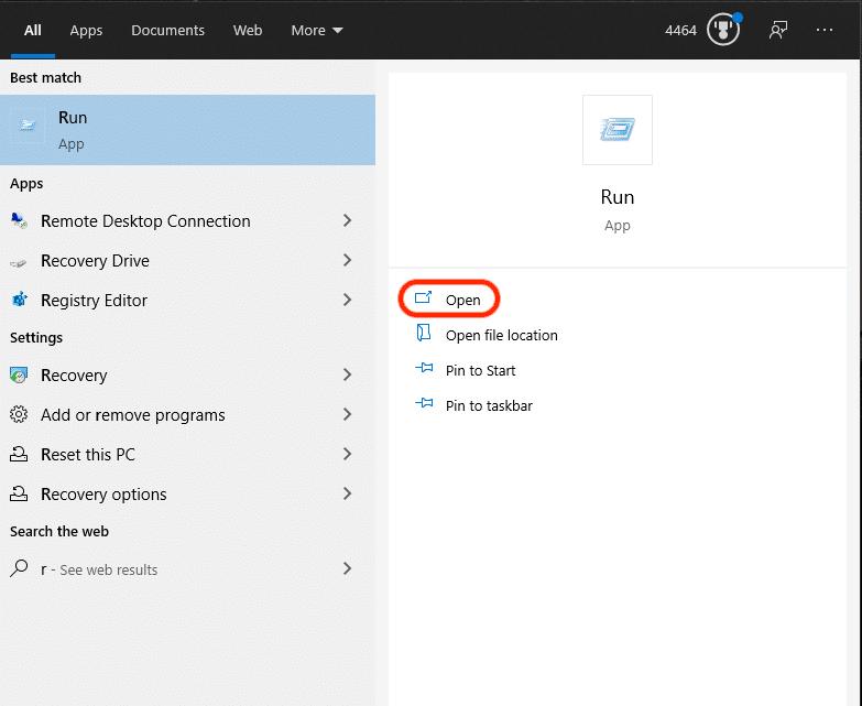 Screenshot of Run app on Windows.