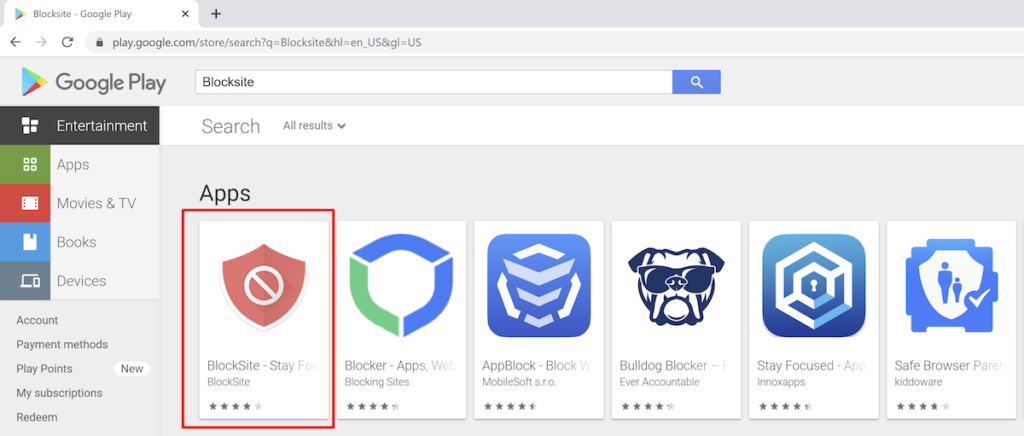 Blocksite application in Chrome—google play store.