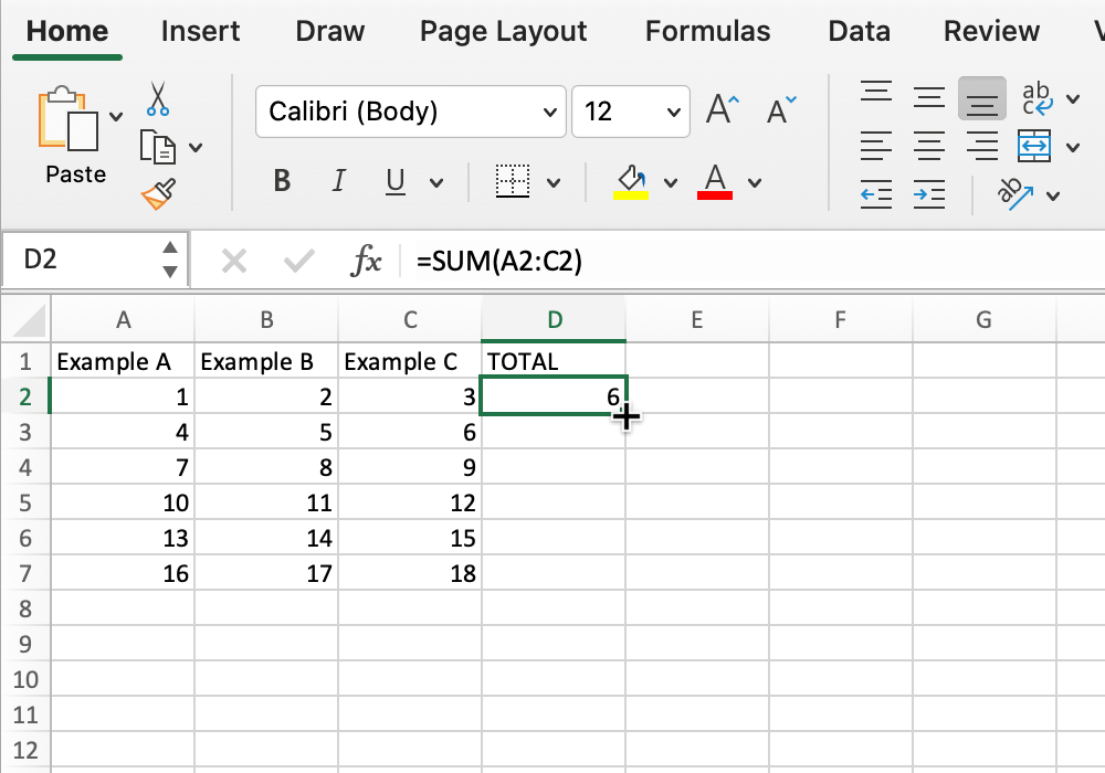Screenshot of cursor changing in Microsoft Excel.