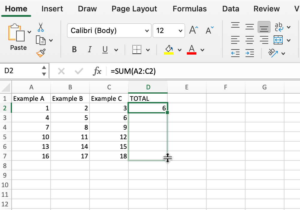 Screenshot of fill tool selecting downward cells in Microsoft Excel.