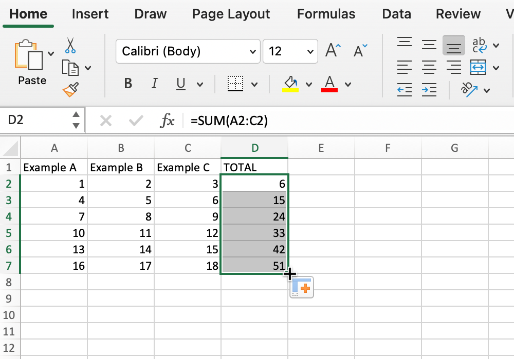 Screenshot of fill tool filling cells in Microsoft Excel.