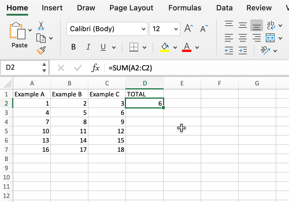 Screenshot of selecting a cell in Microsoft Excel.