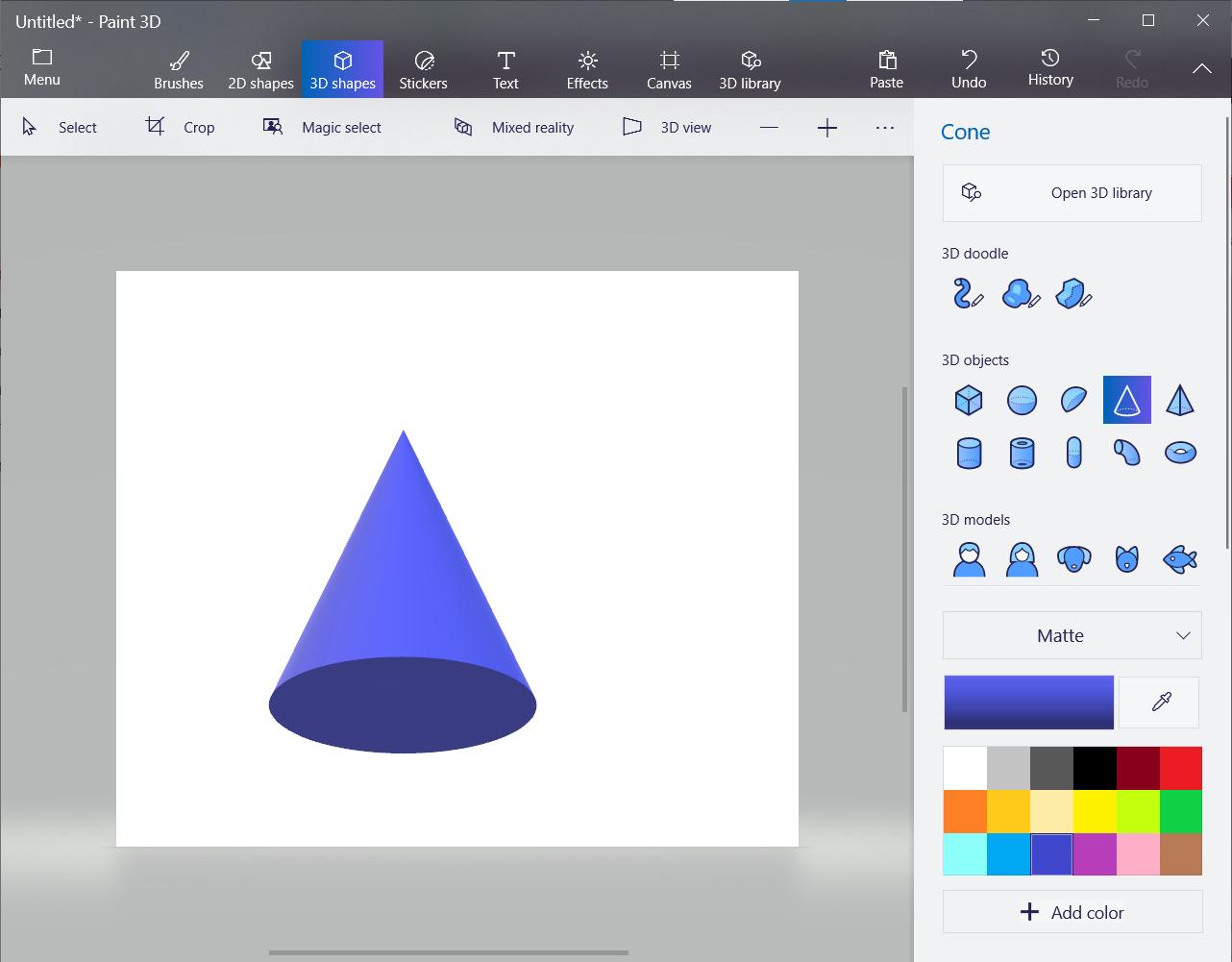 Screenshot of 3D object in Microsoft Paint.