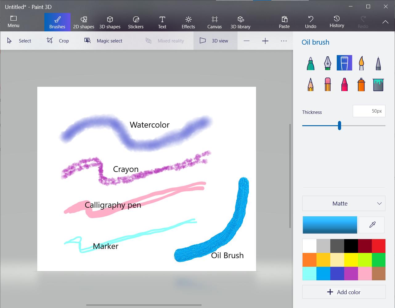 Screenshot of brush types in Microsoft Paint.