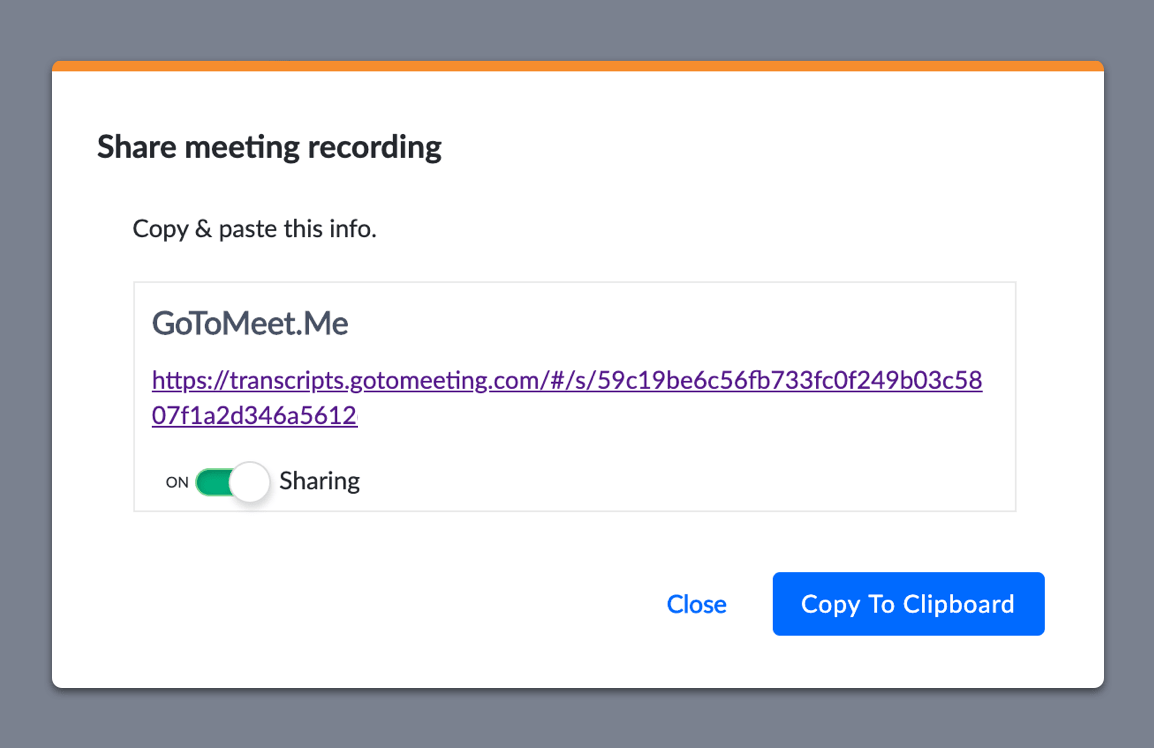 A popup shows how a user shares a meeting recording link on GoToMeeting. Provided by LogMeIn.