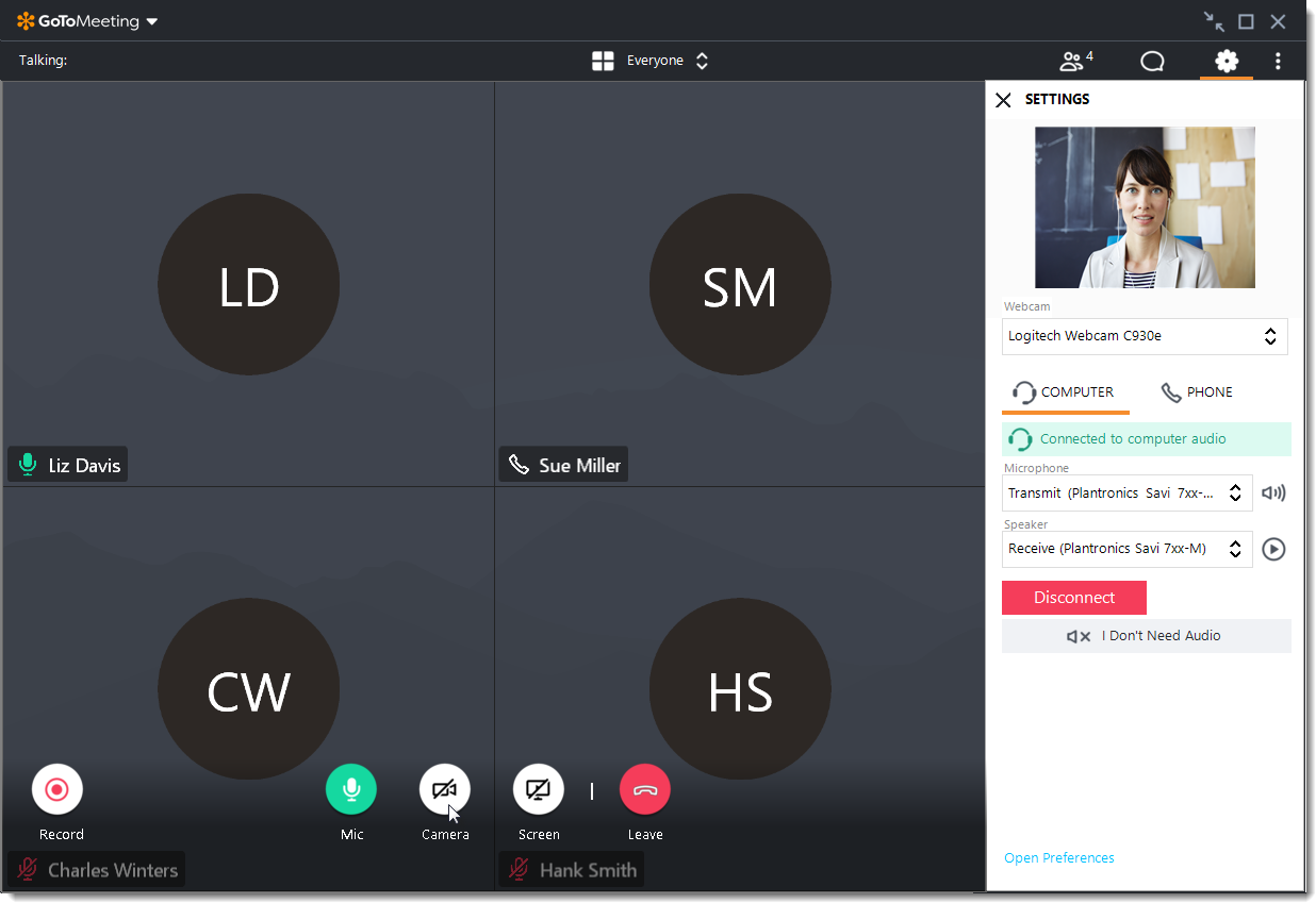 Users can manage their visual and audio preferences during calls. Provided by LogMeIn.