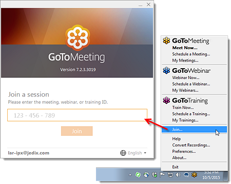 Through the GoToMeeting web portal, users can join a meeting with a link. Provided by LogMeIn.
