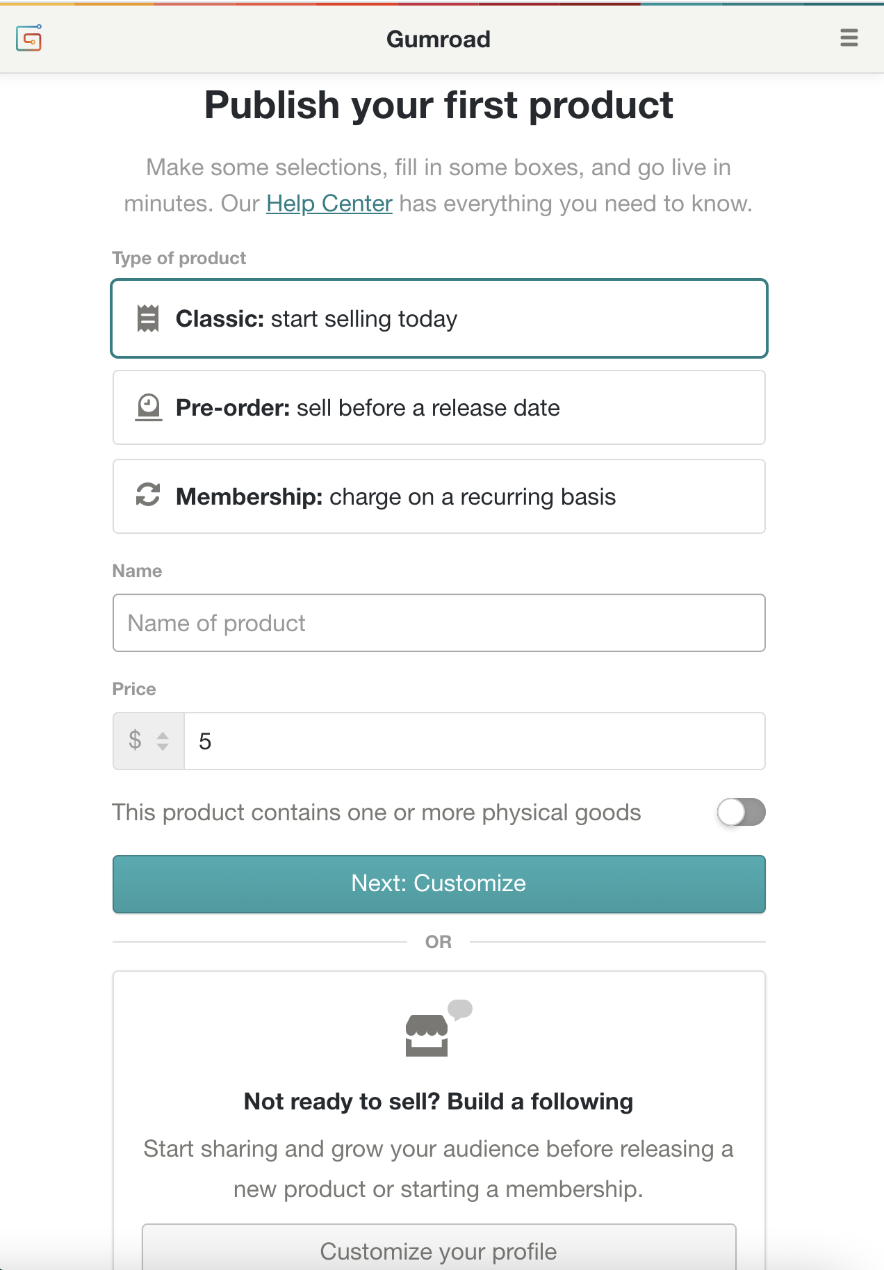 Creators have three options for getting started on their accounts.
